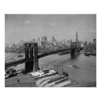 Brooklyn Bridge & New York Skyline, 1920. Vintage Poster