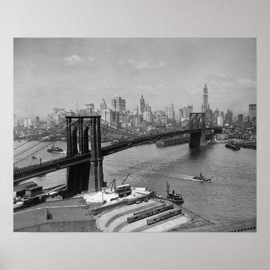 Brooklyn Bridge & New York Skyline, 1920. Vintage