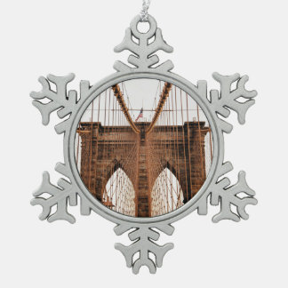 Brooklyn Bridge, New York Snowflake Pewter Christmas Ornament