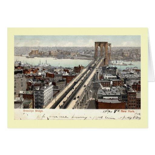 Brooklyn Bridge NY 1907 Vintage Greeting Cards