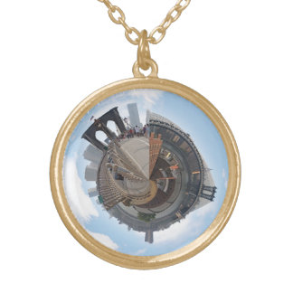 Brooklyn Bridge NYC 360 Degree Panorama Round Pendant Necklace