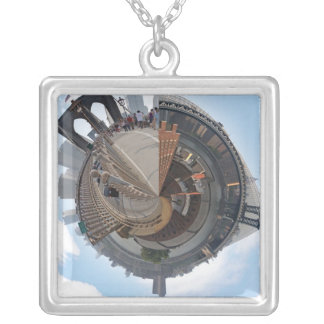 Brooklyn Bridge NYC 360 Degree Panorama Square Pendant Necklace
