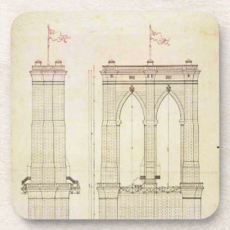 Brooklyn Bridge NYC architecture blueprint vintage Coaster