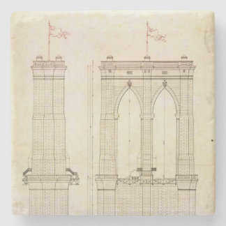 Brooklyn Bridge NYC architecture blueprint vintage Stone Coaster