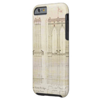 Brooklyn Bridge NYC architecture blueprint vintage Tough iPhone 6 Case