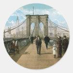Brooklyn Bridge Promenade, New York City Round Sticker