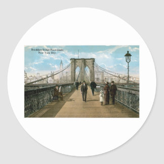 Brooklyn Bridge Promenade, New York City Round Sticker