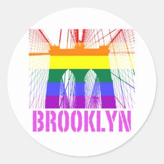 Brooklyn Bridge silhouette pride Round Sticker
