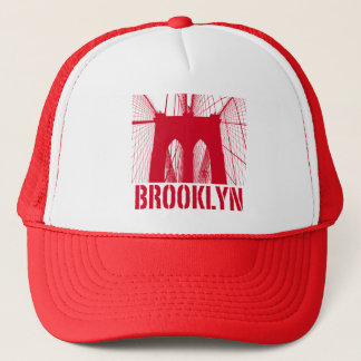 Brooklyn Bridge silhouette red Trucker Hat