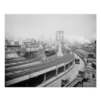 Brooklyn Bridge Terminal, 1903. Vintage Photo Poster