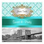Brooklyn Bridge Turquoise White Damask Sweet 16 Invitations