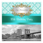 Brooklyn Bridge Turquoise Wht Damask Birthday Personalized Announcements