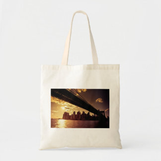 Brooklyn Bridge With New York City Skyscrapers Tote Bags