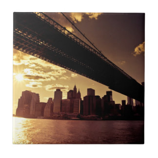 Brooklyn Bridge With New York City Skyscrapers Tile