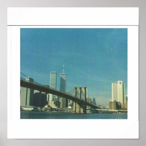 Brooklyn Bridge with pre 9/11/01 New York skyline Print