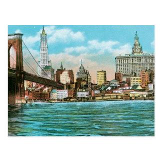 Brooklyn Bridge, Woolworth and Municipal... Postcard