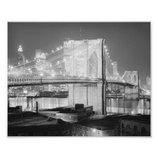 Brooklyn Brigde at Night, 1982, Black & White Photo Art