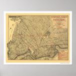 Brooklyn City Railroad Map 1874 Poster