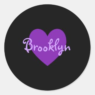 Brooklyn in Purple Classic Round Sticker