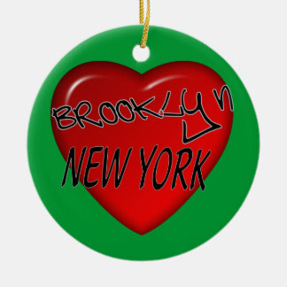 Brooklyn New York Heart Logo Christmas Ornament