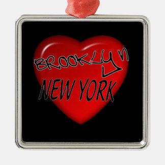 Brooklyn New York Heart Logo Silver-Colored Square Decoration