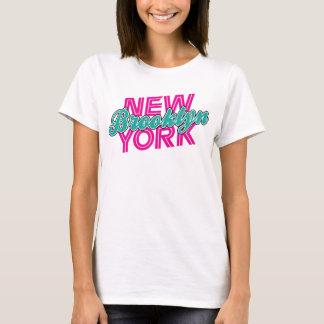 Brooklyn New York - Pink & Teal T-Shirt