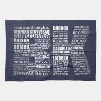 Brooklyn New York Typography Calligram Tea Towel