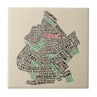 Brooklyn New York Typography Map Tile