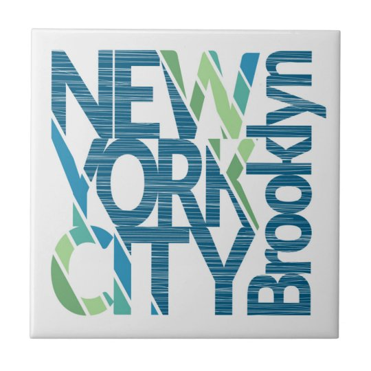 Brooklyn New York Typography Small Square Tile
