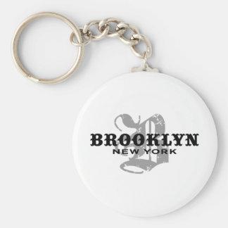 Brooklyn NY Basic Round Button Key Ring