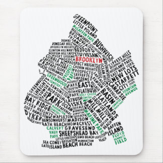 Brooklyn NYC Typography Map Mouse Mat
