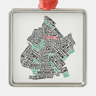 Brooklyn NYC Typography Map Silver-Colored Square Decoration