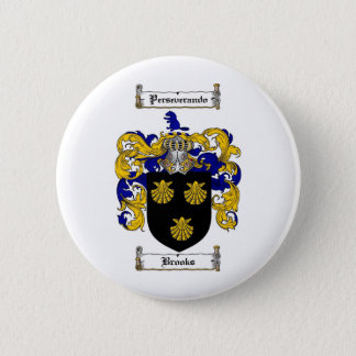 BROOKS FAMILY CREST -  BROOKS COAT OF ARMS 6 CM ROUND BADGE