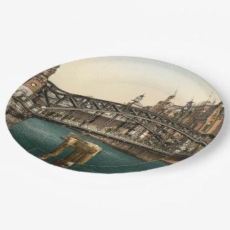 Brooksbrucke Bridge, Hamburg, Germany Paper Plate