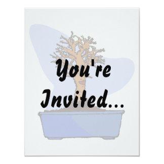 Broom Bonsai Trimmed Blue Pot Graphic Image 11 Cm X 14 Cm Invitation Card