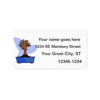Broom Bonsai Trimmed Blue Pot Graphic Image Address Label