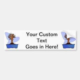 Broom Bonsai Trimmed Blue Pot Graphic Image Car Bumper Sticker
