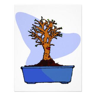 Broom Bonsai Trimmed Blue Pot Graphic Image Custom Announcement