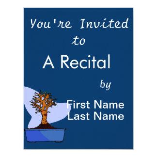 Broom Bonsai Trimmed Blue Pot Graphic Image 4.25x5.5 Paper Invitation Card