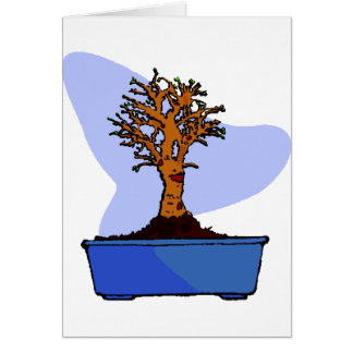 Broom Bonsai Trimmed Blue Pot Graphic Image Note Card