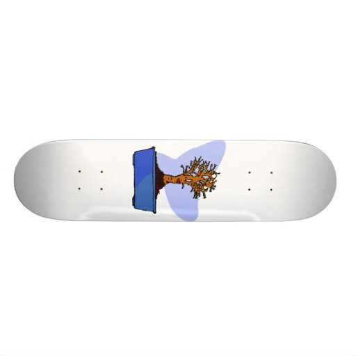Broom Bonsai Trimmed Blue Pot Graphic Image Skate Boards