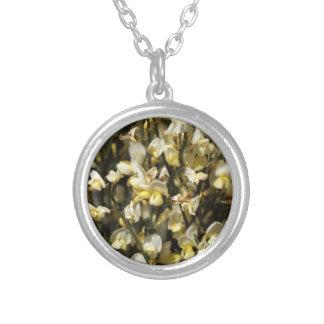 Broom Flowers Round Pendant Necklace