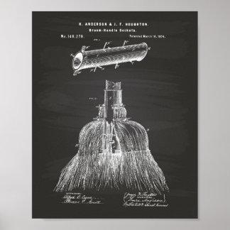 Broom Handle Sockets 1874 Patent Art Chalkboard Poster