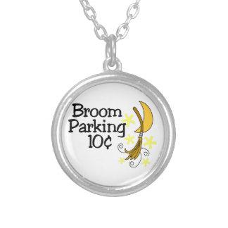 Broom Parking Round Pendant Necklace