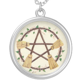 Broom Pentagram Round Pendant Necklace