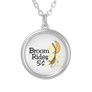 Broom Rides Round Pendant Necklace