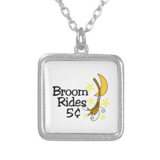 Broom Rides Square Pendant Necklace