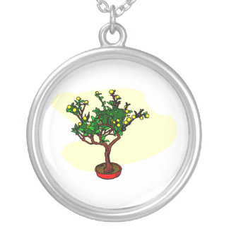 Broom style flowering bonsai graphic round pendant necklace