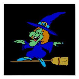 Broom Surfing Witch Posters