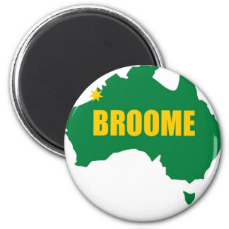 Broome Green and Gold Map 6 Cm Round Magnet